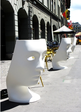Be surprised by faces in the city. These white faces chairs were quite surprising when I saw them in the city of Bern, Switzerland recently.