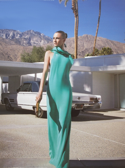 Attending a fun party in Palm Springs in Gucci, leaving a Mid-Century Modern home in style.