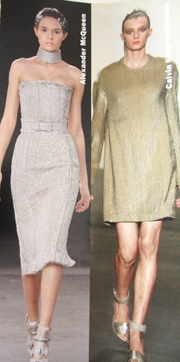 Short cocktail dresses by Alexander Mc Queen and Calvin Klein.