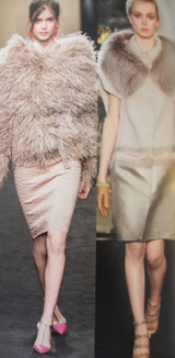 Layering, Furry fur for me, in soft colors.