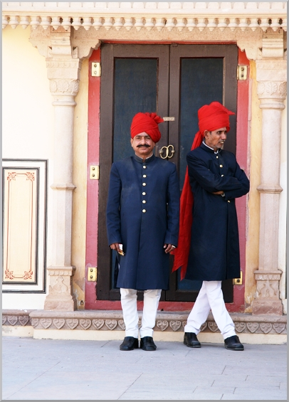 The proud colorful palace guards with their turbans in the typical wrap turban.