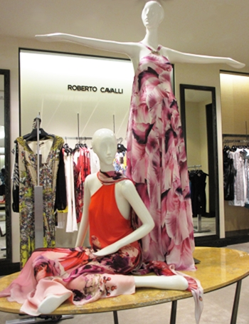 Bright red and flower prints, fun cocktail dresses at Saks 5th Avenue in Palm Desert.