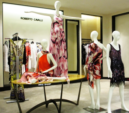 Roberto Cavalli, wild patterns at Saks 5th Avenue El Paseo.