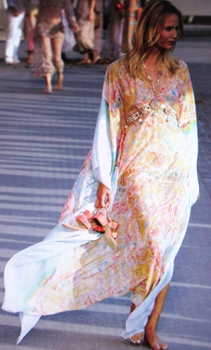 One of my favorite kaftans of this collection. Love the colors and the beading detail.