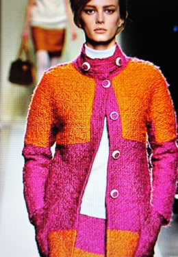 Tangerine and Fuschia Tweed Bouclée in color bloc.