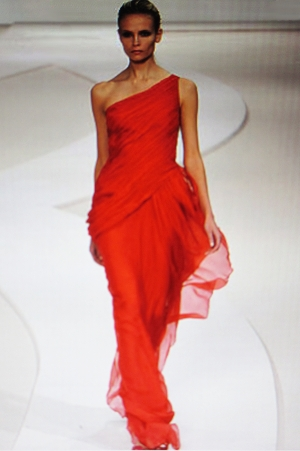 Valentino Red chiffon gown