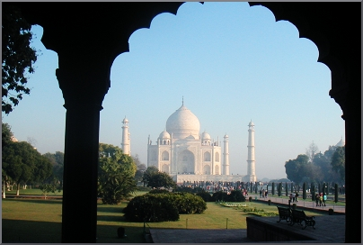 View of the Taj Mahal approach from the gardens.