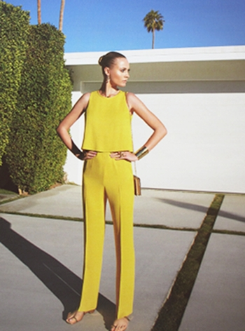 Pant suit in curry by Gucci at the W. Krisel Estates in South Palm Springs.      photo credit: see below