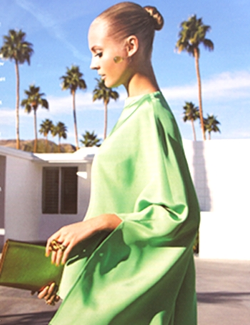Green tunic by Etro, clutch by Saint Laurent, at the W. Krisel Estates in South Palm Springs.  photo credit: see below