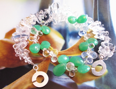 My Twin Palms fun necklace with faceted Chrysoprase and Rock Crystal.