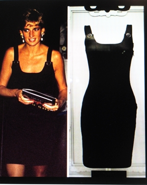 Diana, Princess of Wales in the famous black Versace dress and some of her signature earrings.