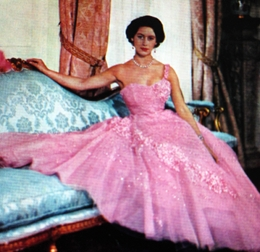 Princess Margaret in early 1950s Glamour, all pink ruffles and sparkles, a true Princess.