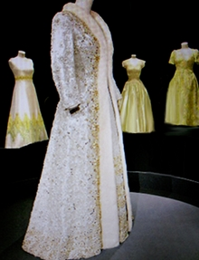 An Evening gown coat for QE II possibly created to wear at an Opening of Parliament ceremony.