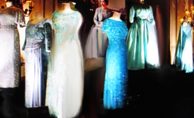 Selection of gown for Q E II from the late 1970s and early 1980s