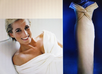 Diana, Princess of Wales in a cream Catherine Walker gown in a natural pose photographed by Mario Testino.