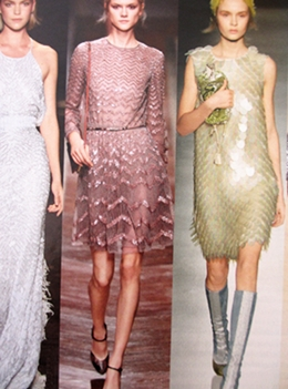 Shimmering textures in scales and sequins.