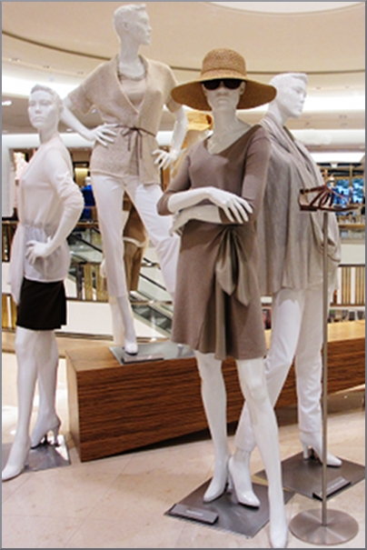 A group of all natural colors and textures at Saks 5th Avenue El Paseo.