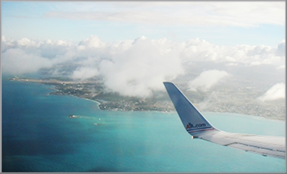 Take off from Antigua, mixed emotions.