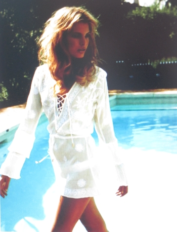 White tunik with beaded detail by Melissa Odabash.