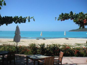 View of the cove beach at The Hermitage Antigua.