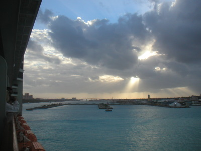 My arrival at the Bahamas under cloudy skies, a stunning morning
