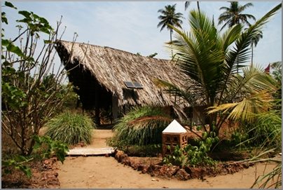 The tents covered with a thatched hut solar panels for light in the evenings.