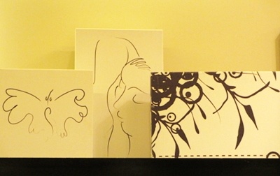 Gift boxes evoking the drawings of Chagall. A perfect thought for the Holidays.