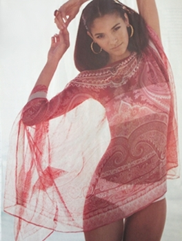 You can just glimpse the white bandeau bikini through this pink India Paisley tunik