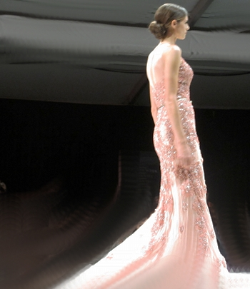 Oliver Tolentino in pink beading on tulle.