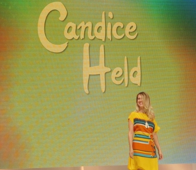 Designer Candice Held on stage.