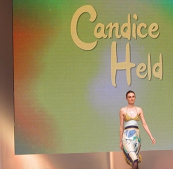 One of the scarf print day dresses by Candice Held.
