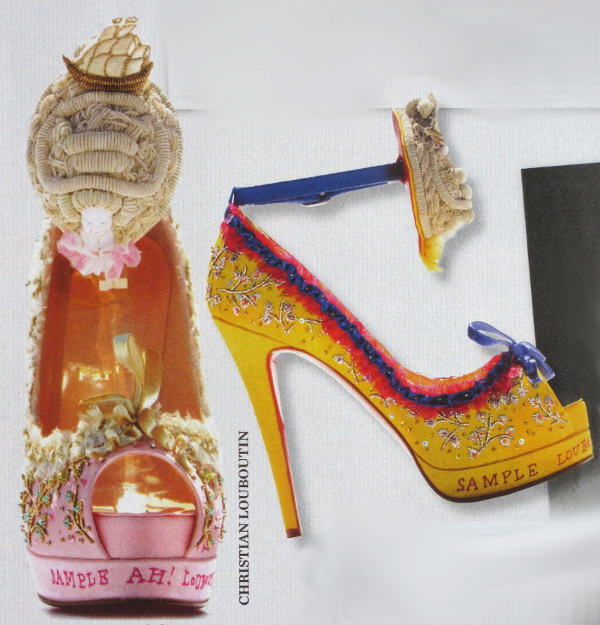 Homage to Queen Marie-Antoinette with embroidery details, by the King of Shoes with the red sole.