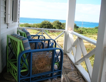 Our balcony for views of Montserrat in the distance, in Cade's Bay, Reef View Apartments.