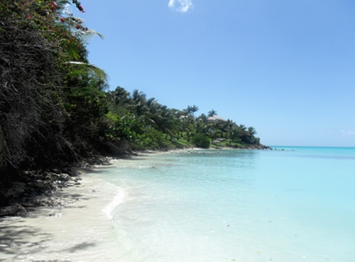 Coco Bay Beach with view of Pink Villas in the distance.
