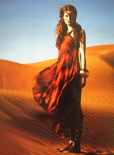 Fire in the Desert. Hot, Hot Hot, the gown by Roberto Cavalli, the girl fierce.