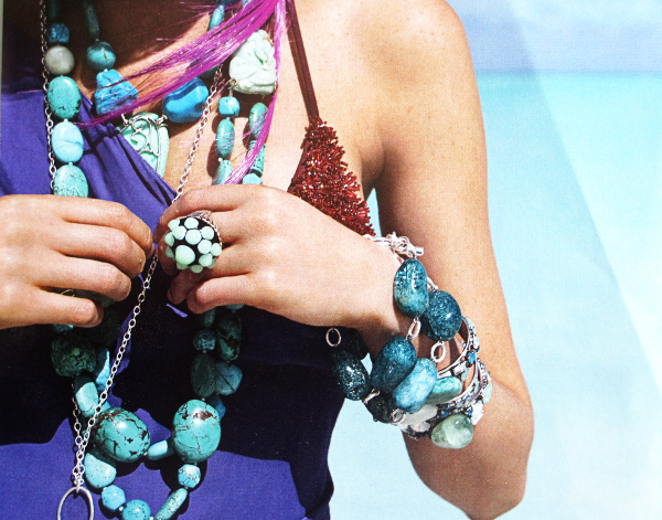 Aqua jewelry with SSilver, Bikini top with sequins that look like a sea creature.