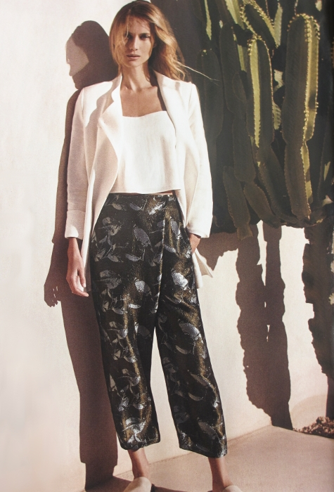 Mango for Summer 2015 pants in cactus and silver. I like the rough texture.