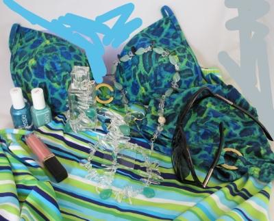 Blue leo print bikini with my Tropic rain drops necklace.