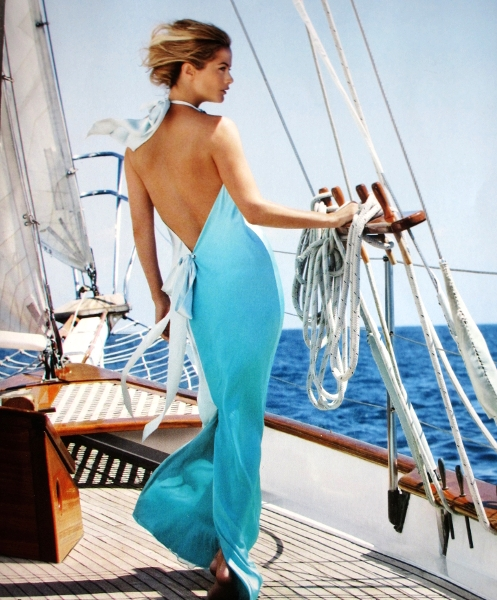Carolyn Murphy sailing away on a sunny day