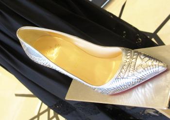 Louboutin sandals in Art Deco design, Champagne fun.