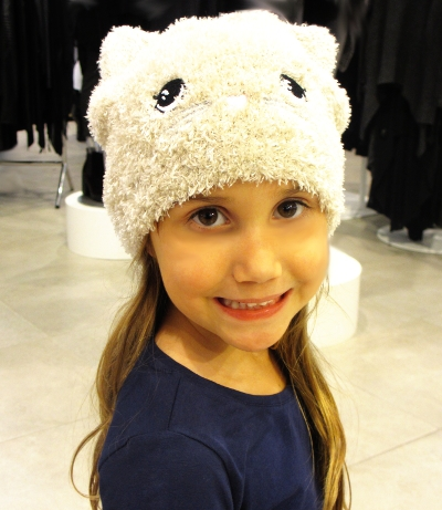 Cece with her Fav the Cat Beanie...