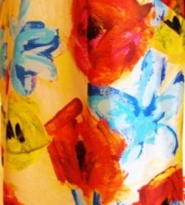Design detail with colors on Peau de Soie for Oscar de la Renta
