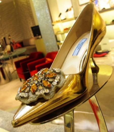 The  Pradas  with the golden amber jewel rosette...Divine