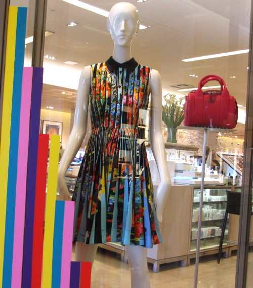 Stripes and Op Art, the Dew Pleat dress, the Rockie bag wows in Red.