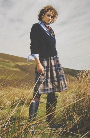 blue tartan against a blue sky, very Scottish