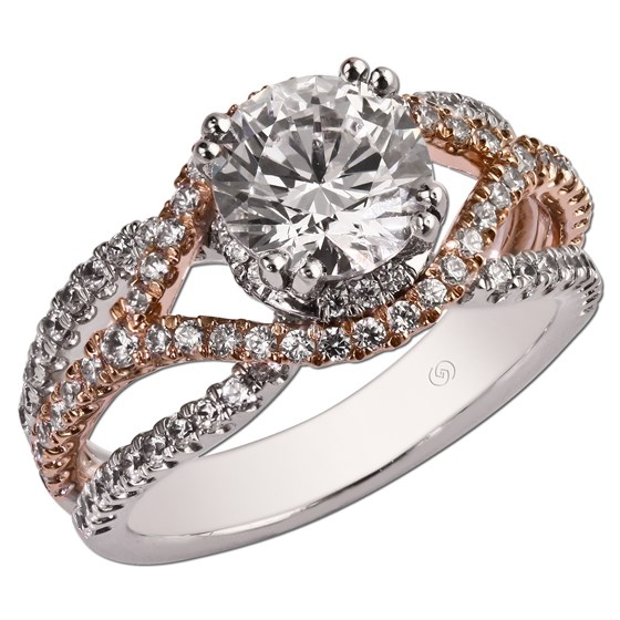 Unique rose two-tone diamond shared prong set semi mount ring.