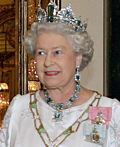 Elizabeth II:  here she is trying to get ghostly and mythological rivals out of her head. Nice bling by the way.