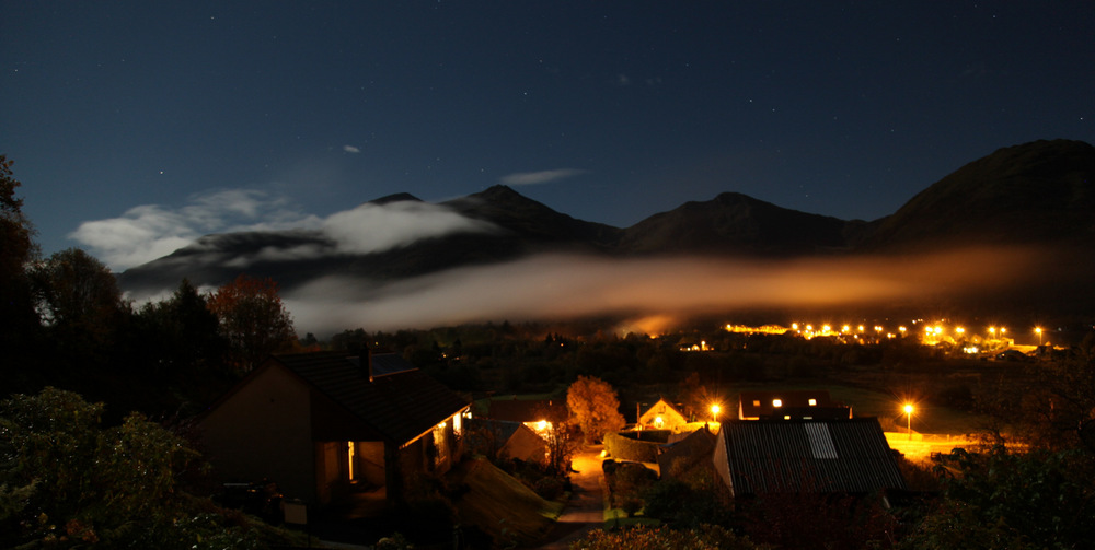 Hills above Ballachulish at night