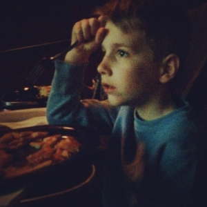 Engrossed in the Spongebob movie... Not the best combo with trying to eat pancakes in the dark.
