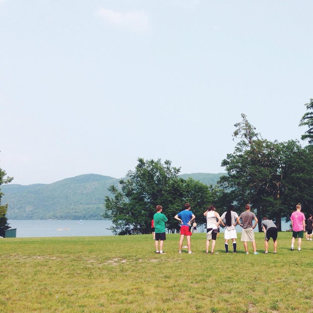 Quaker team plying soccer.